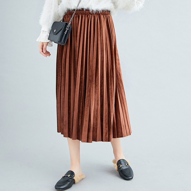 12-Color Photo Shoot 2019 Autumn New Style Versatile Solid Color Skirt Pleated Gold Velvet Skirt