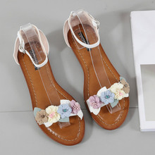 2020 Sweet Flower Ladies Flat Sandals Plus Size Beach Breathable PU Leather Women Summer Shoes Cover Heel Calzado Mujer