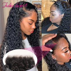 Ali Julia Malaysian Curly Lace Closure Free Part 150% Density Remy Human Hair 10
