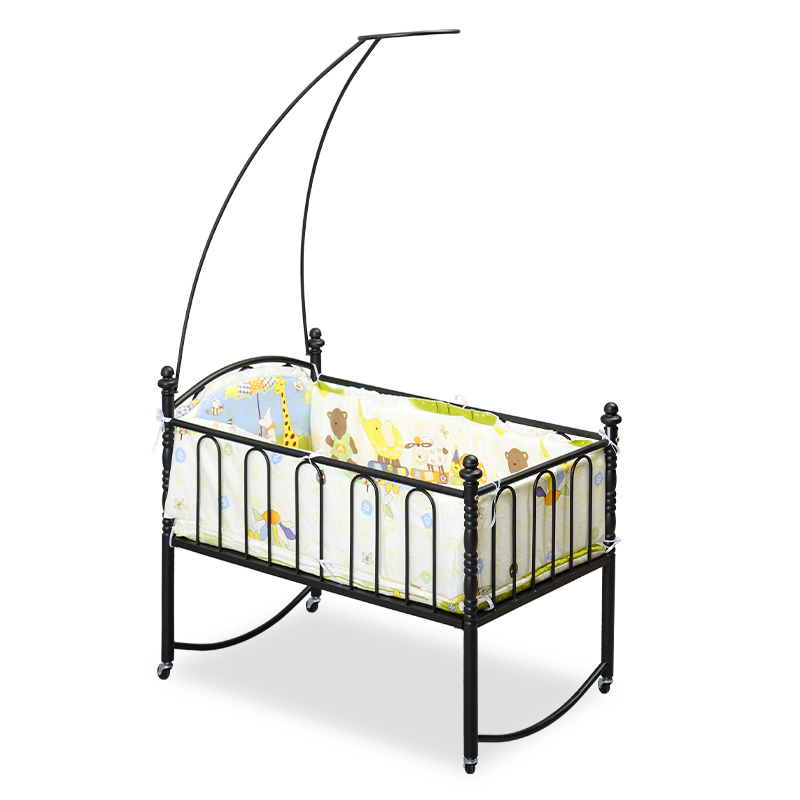 Simple Style Iron Frame Baby Bed With Mosquito Net, Infant Sleeper Bassinet With Bedding Set, Can Combine With Adult Bed