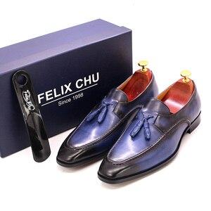 Image 2 - Tamanho 6 13 dos homens borla mocassins feitos à mão couro genuíno marrom formal sapatos festa de casamento dos homens vestido sapatos azul calçados casuais