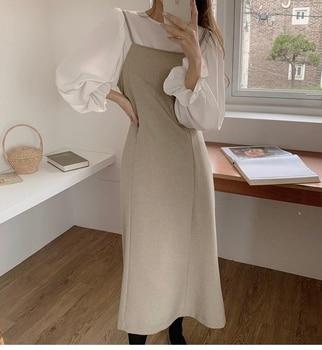 New S-Xl Spring  2 Piece Suit Long Sleeve Vintage Women Dresses Female Blusas Girls Dress Suits V Neck Robe Femme Vestido Blouse 1
