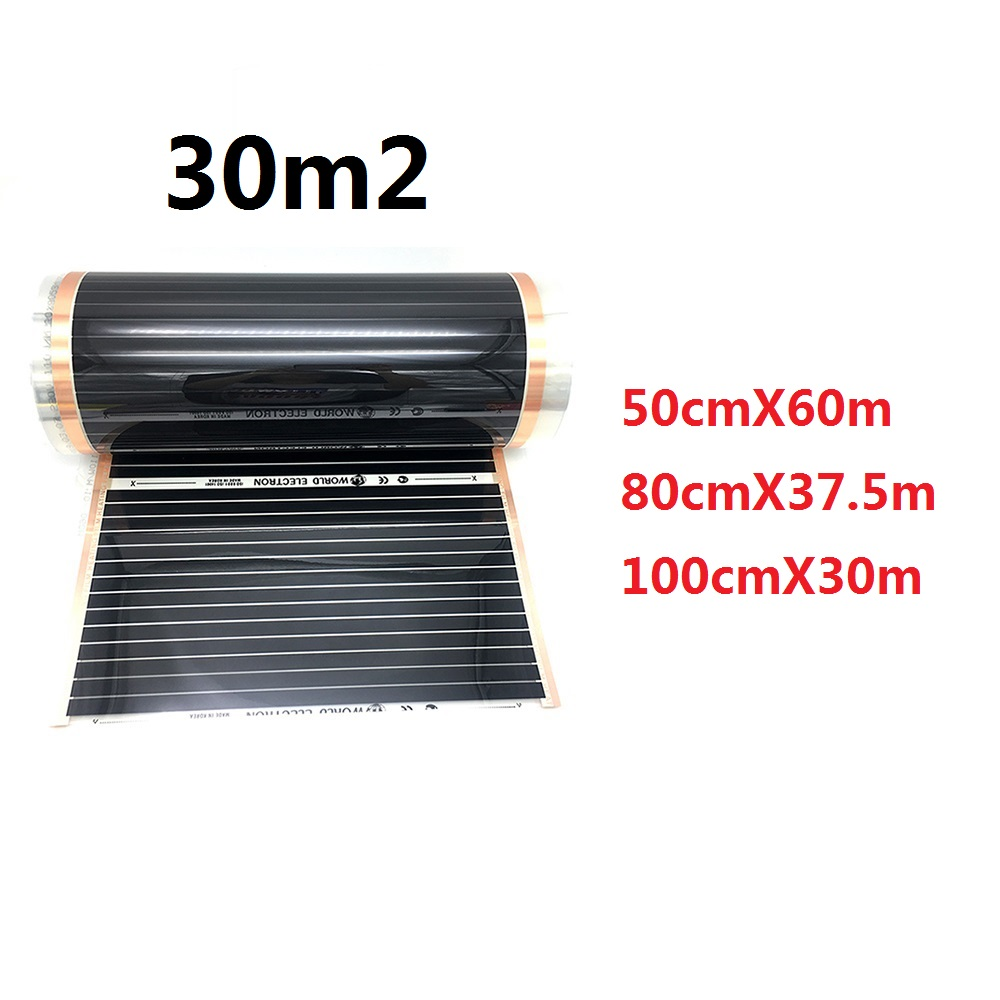 30m2 Korea Heating Film 220w/m2 Carbon Underfloor Warming Mat For Home Office Yoga Heating System