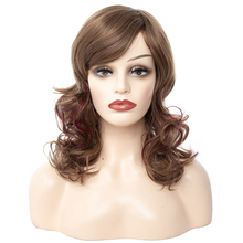 цена на Synthetic Hair Wig 24 Inches Long Synthetic Natural Wave Brown Ombre Hair Wigs Heat Resistant Hair Wigs for Black Women