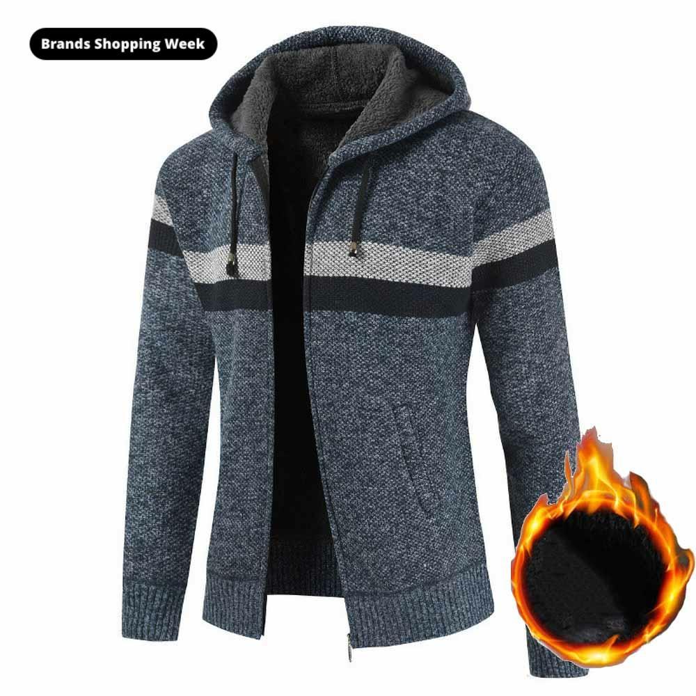FALIZA Men's Striped Sweater Coat Thick Fleece Warm Zipper Wool Hooded Cardigan Jumpers Men Long Sleeve Knitted Sweaters XY110