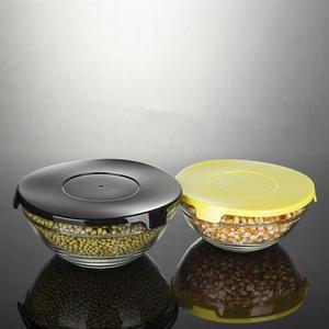 Image 2 - 5 uds. De vidrio resistente al calor conjunto de Boles para ensalada, cuenco fresco, recipiente de comida de cocina con tapa, Color aleatorio