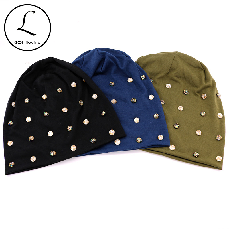 Women Black Cotton Pearl Beanies Hats For Winter 2019 New Ladies Casual Slouchy Skullies Beanies Caps Autumn Warm Gorros Gifts