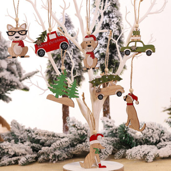 1PC Wooden Hanging Christmas Tree Cabin Elk Car Ornament Xmas Party Home Decor Christmas Decorations For Home Boże Narodzenie image