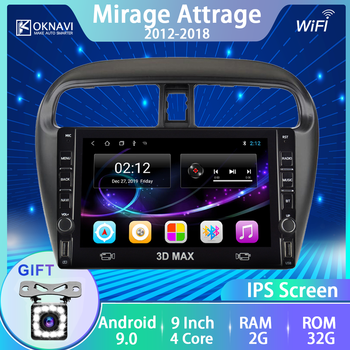 For Mitsubishi-m Mirage Attrage Car Radio Android 9.0 2012 2013 2014 2015 2016 2017 2018 Multimedia Player GPS DVD Player WIFI image