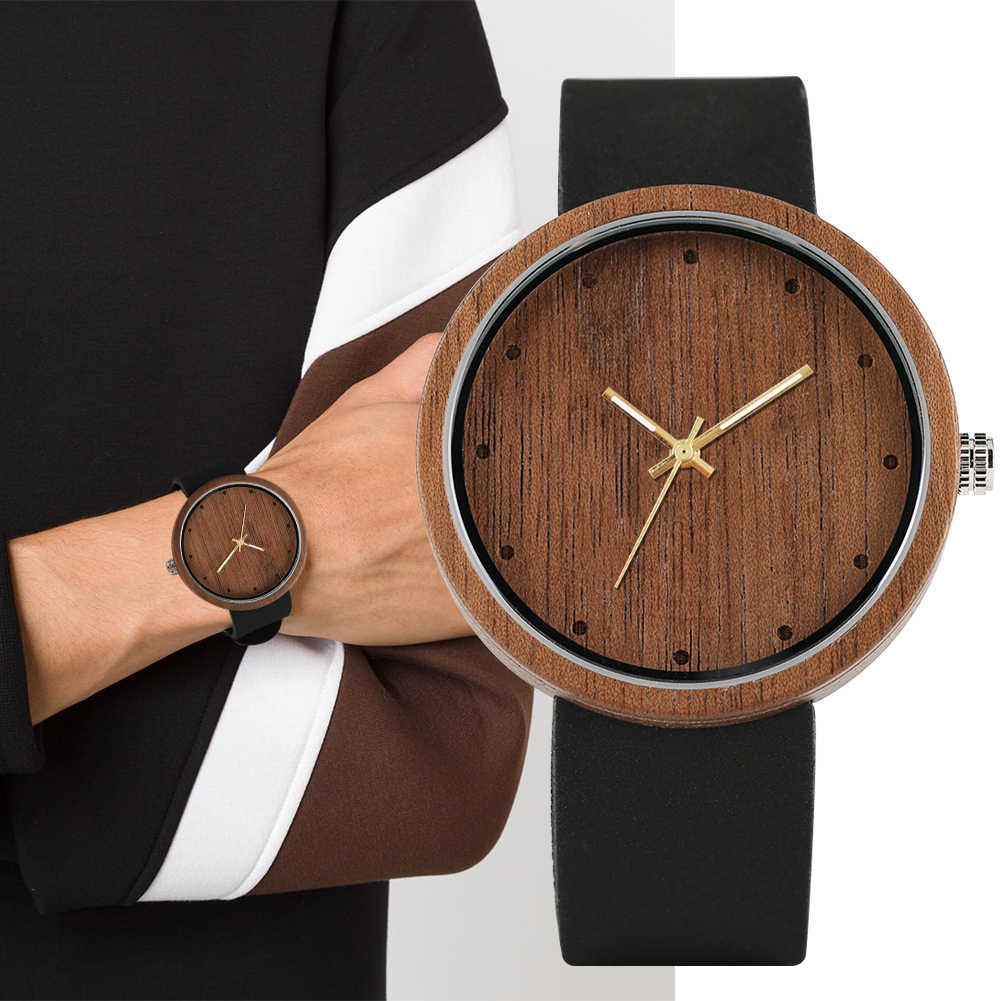 Fashion Natural Wooden Wristwatch With Large Dial Couple Watches Practical Night Light Quartz Wood Watches for Men Women 2019
