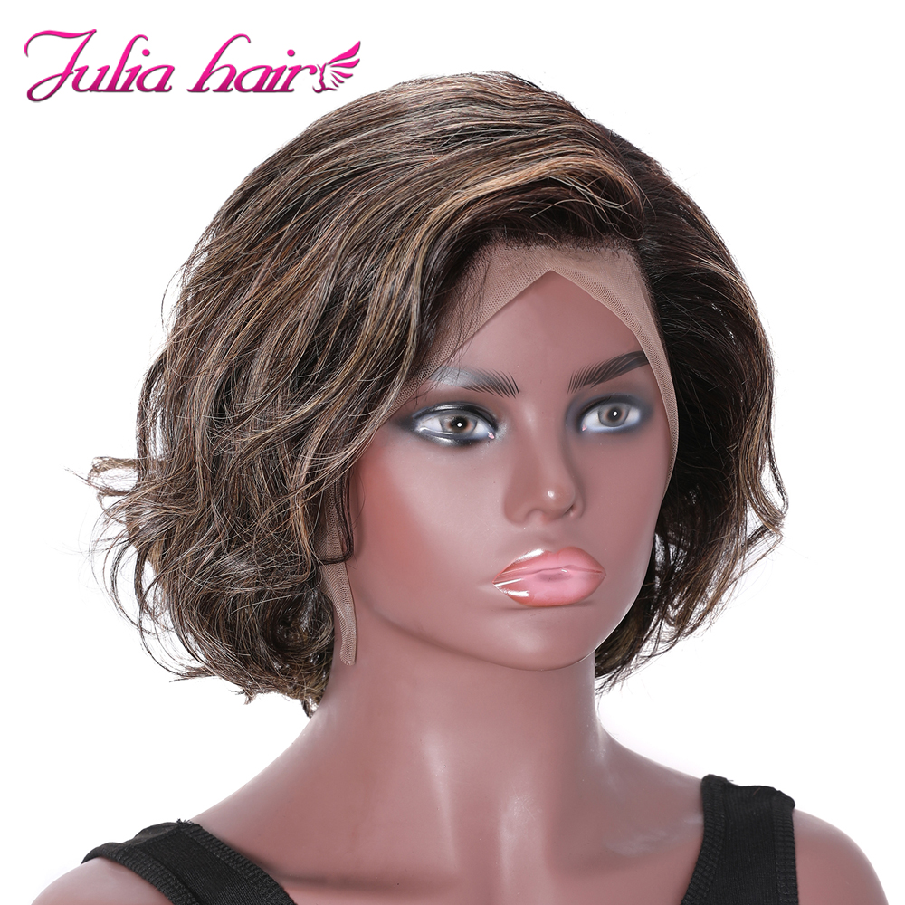 Peruvian Highlight Wavy Bob Lace Front Wig Pre Plucked 8 Short Bob Ombre Lace Wig Ali Julia Wavy Human Hair Wig with Baby Hair (2)