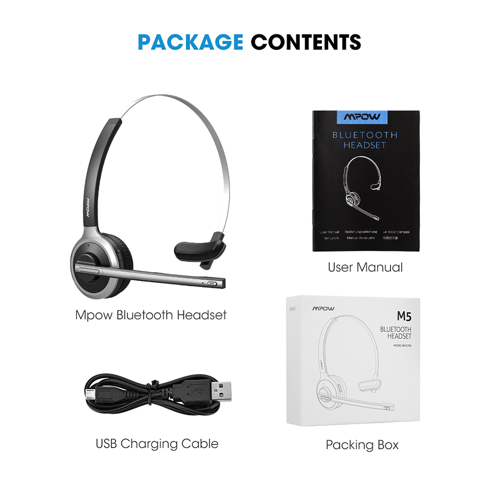 Mpow M5 Bluetooth 4.1 Headset Wireless Over-Head Noise Canceling Headphones With Crystal Clear Microphone For TruckerDriver (7)