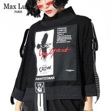 Max LuLu 2019 Fashion Korean Streetwear Ladies Clothes Women Printed Turtleneck Hoodies Vintage Embroidery Sweatshirts Plus Size
