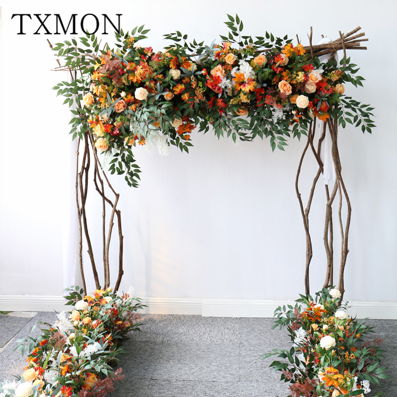 Wedding arch orange autumn artificial floral wedding decoration flower row pre-function area stage background floral decoration(China)