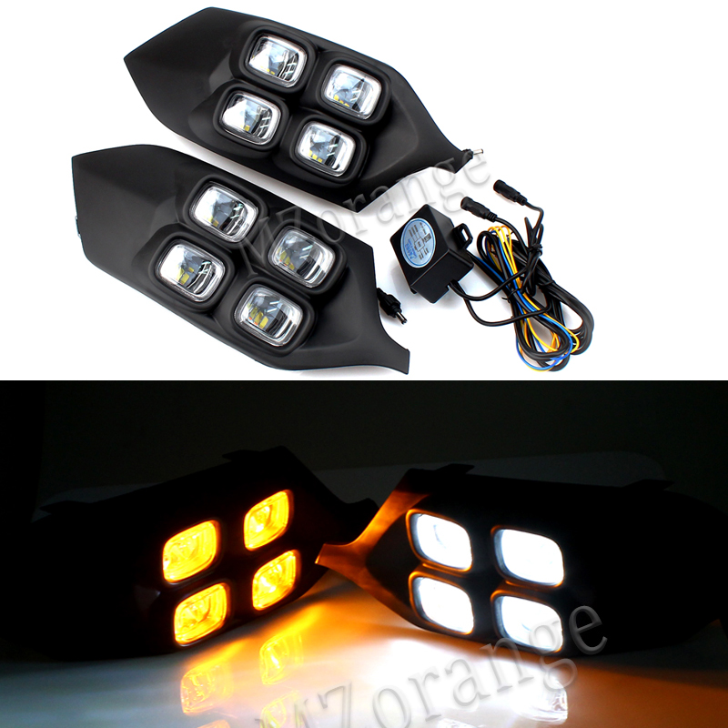 2PCS LED Daytime Running Light For Mitsubishi Pajero Sport 2016 2017 2018 Waterproof ABS 12V Car DRL with yellow signal lamp