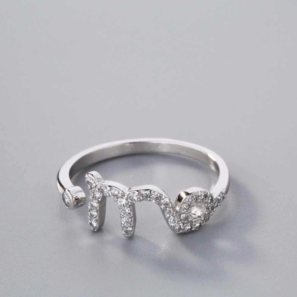 Дева Звезда Созвездие кольца зодиака Кристалл М письмо нежное кольцо Рождественская вечеринка девушка подарок на день рождения серебряные ювелирные изделия
