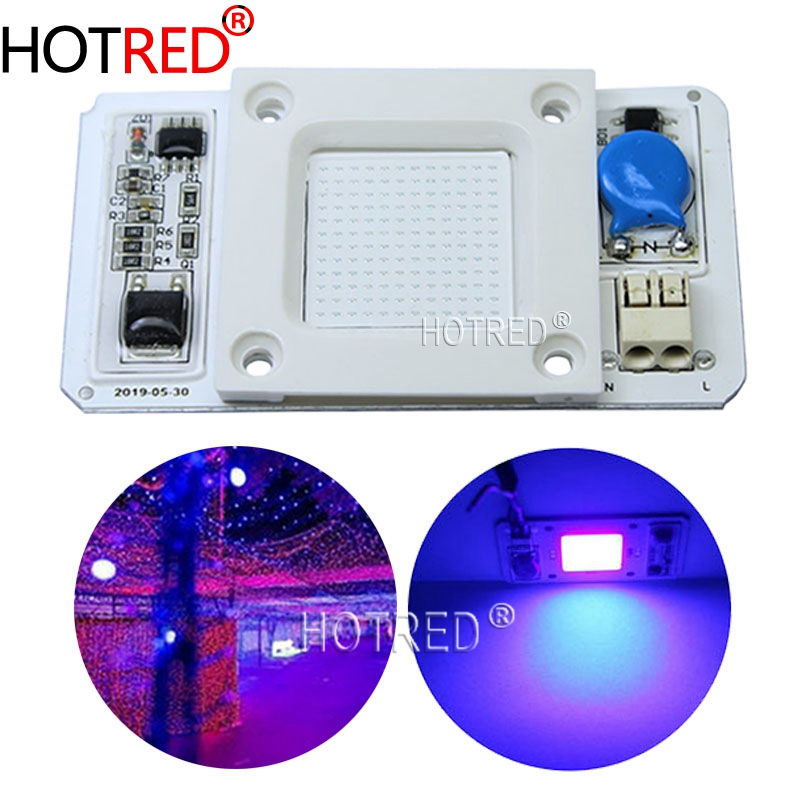 50W Led COB UV Lamp Chip 110V/220V 395nm 400nm DOB AC Ultraviolet Cure Metal Detector Quartz Black Light Germicidal Disinfection