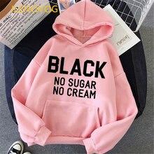 Буквы черный без сахара не крем куртки с капюшоном и принтом