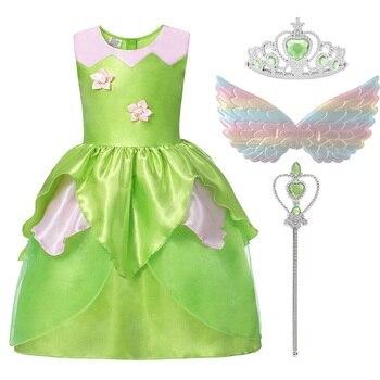 MUABABY Ragazze Tinkerbell Dress Up Costume Estate Dei Bambini Trilli Fata Principessa Del Partito di Fantasia Abbigliamento Abiti di Compleanno Per Bambini