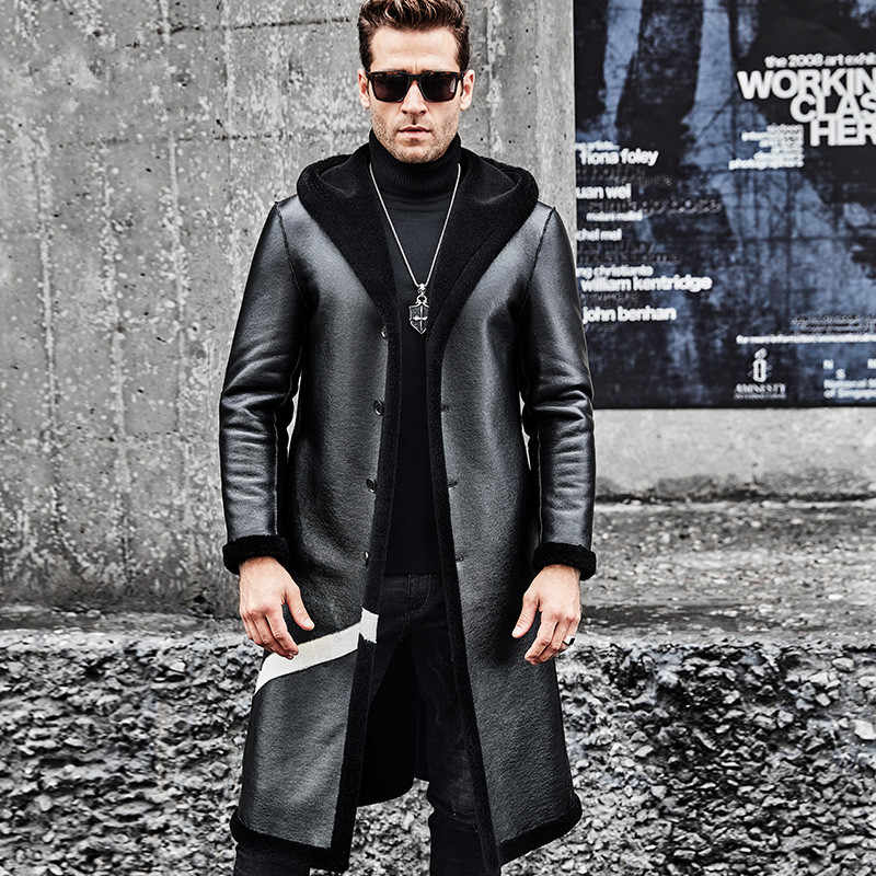 2019 Men Leather Jackets Sheepskin Double-sided Wearable Long Coat New Fashion Real Wool Fur Liner Men Clothes