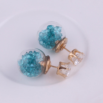 Vidrio flor calientev cristal moda bola de mujeres doble pendientes de botón...