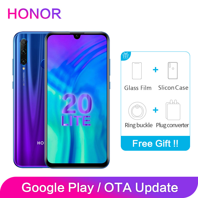 Honor 20 Lite Global ROM 4GB 6GB 64GB 128GB 2340x1080P 6.21 Inch 2 SIM Card Octa Core Face Fingerprint Unlock Smartphone