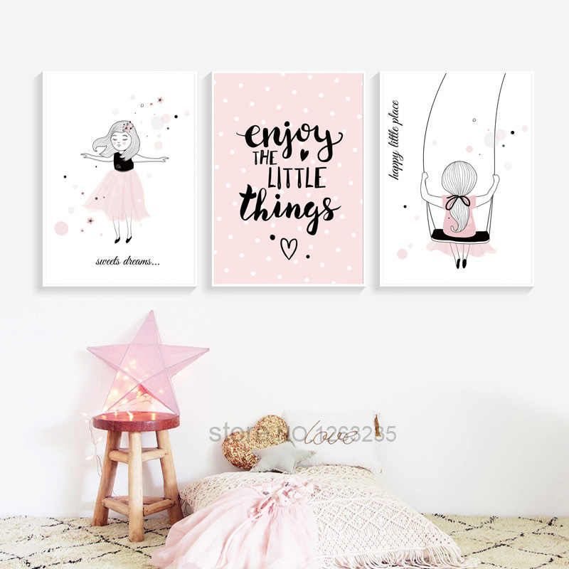 Pink Baby Girl Room Decor Nordic Poster Cartoon Pictures For Children Room Posters And Prints Wall Art Canvas Painting Unframed
