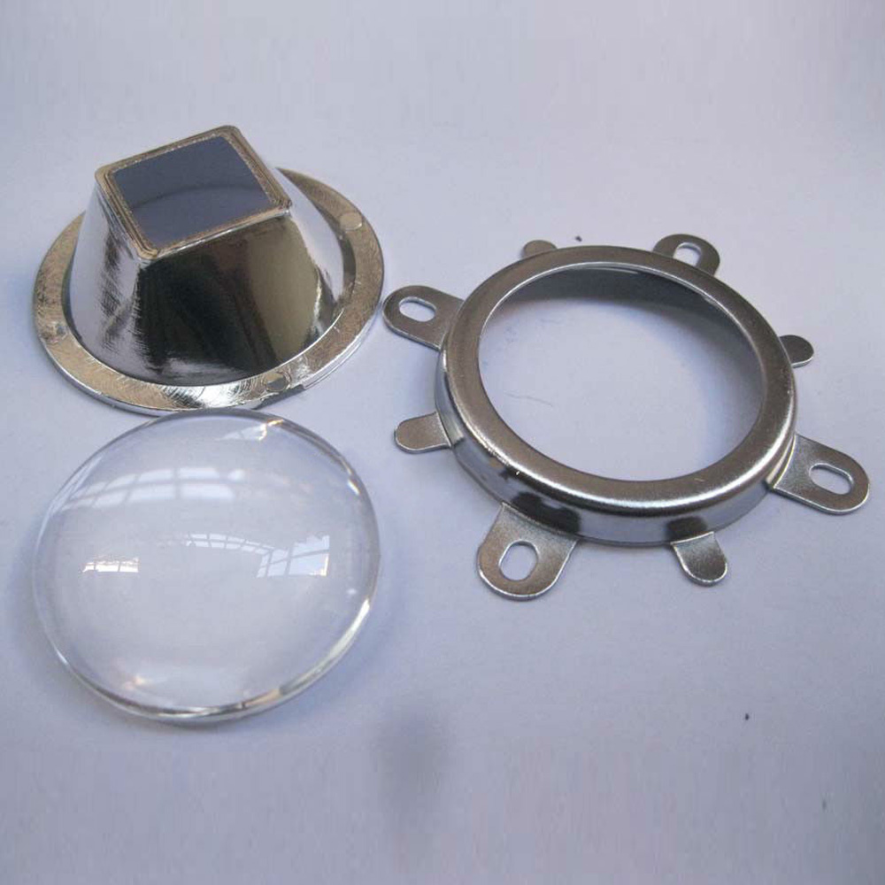 50mm Reflector Collimator Fixed Bracket Kit Silver 20-100W LED 44mm Lens