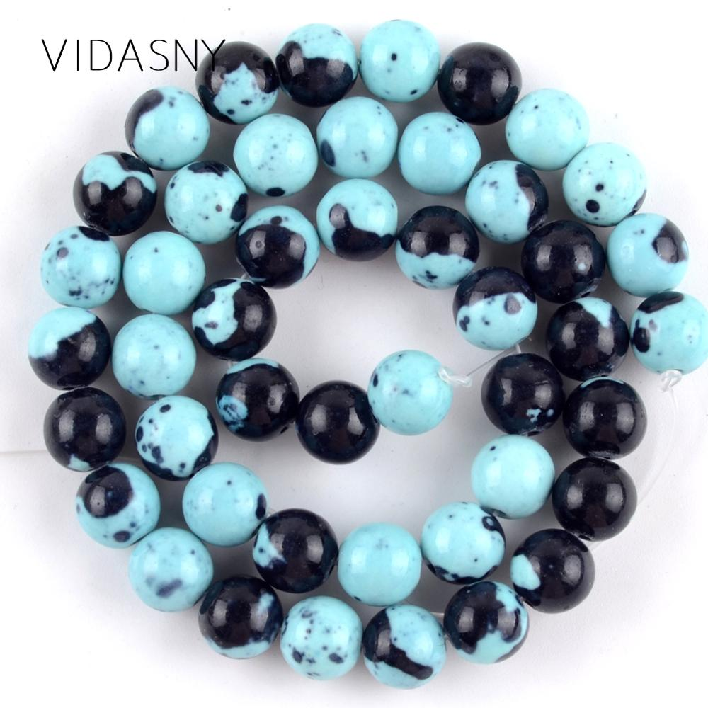 Natural Lake Blue Black Spotted Rain Flower Stone Beads For Jewelry Making 4-12mm Round Spacer Diy Bracelet Necklace 15