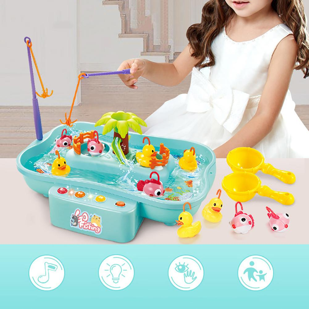 Kid Electric Music Rotary Water Fishing Poor Parent-Child Interaction Puzzle Toy 3D Fishing Baby Bath Kits Children Outdoor Toys