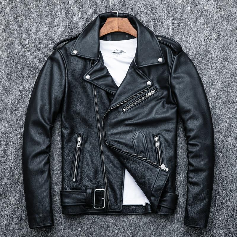 Real Cow Leather Jacket Men Spring Autumn Motorcycle Jacket Plus Size Men's Genuine Leather Coat Deri Mont Erkek KJ1911