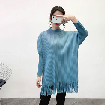 Women Pleated Fringe Tops Spring 2020 New Loose Pleated Pleated Bottoming T-shirt фото