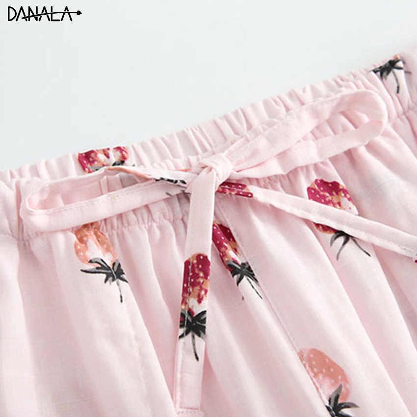 DANALA 100% כותנה יפני סתיו חורף נשים פיג 'מה בית מכנסיים Bottoms פירות הדפסת חם מכנסיים נשים Nightwear Mujer