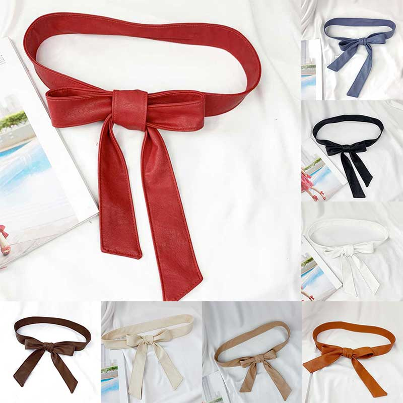 Female Belts Soft Leather Elegant Bow Knot Tie Wrap Around Waist Belt Waistband Dress Belt Girdle Rope Black Red Beige Belts New