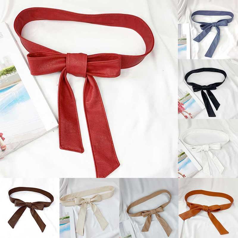 Female Belts Soft Leather Elegant Bow Knot Tie Wrap Around Waist Belt Waistband Dress Belt Girdle Rope Black Red Beige Belts New