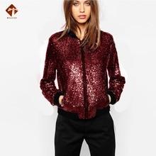Spring Women Sequin Bomber Jacket Plus Large Size Lady Streetwear Tunic Loose  Casual Glitter Outerwear Basic Female Outwear