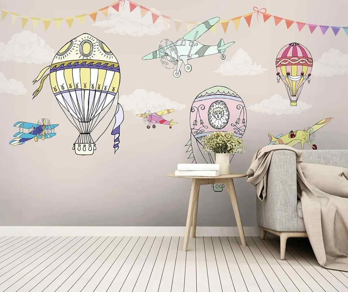 Karton gorący balon dmuchany samolot fototapeta tapeta do pokoju dziecięcego rolka ręcznie malowana malowidła papier przylepny 3D
