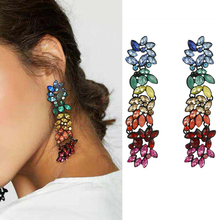 2019 New Color Earrings Colorful Rhinestone Geometric Flowers Tassel Banquet Party Decorative