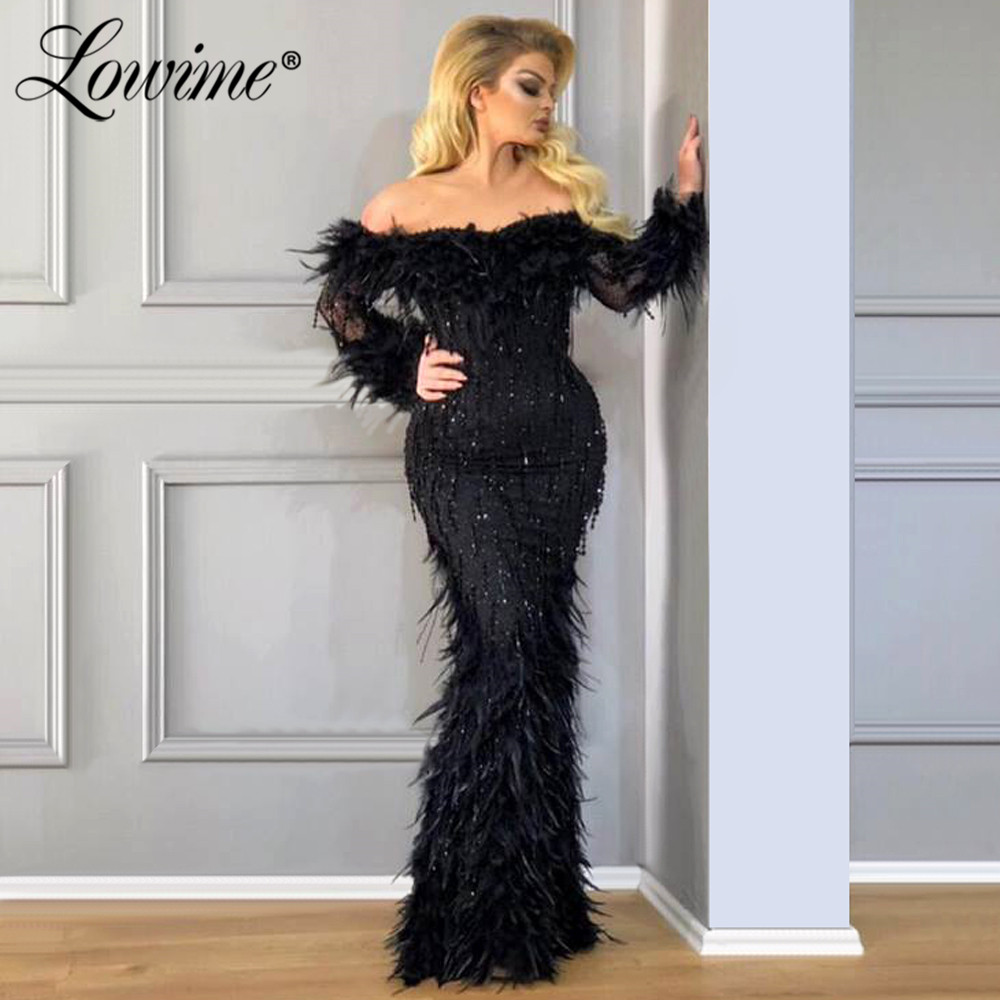 Feathers Black Mermaid Women Formal   Dress   2020 Couture Boat Neck Turkish Arabic Ladies Party Gowns Dubai   Evening     Dresses