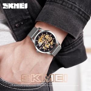 Image 3 - SKMEI Reloj de pulsera automático para hombre, creativo, mecánico, con esfera DE ARTE hueca, correa de acero sin cadena, 9199