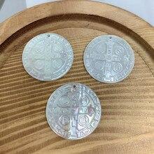 RP medalla redonda Cruz encanto colgantes para hacer joyería accesorios cristianos