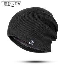 TRUENJOY, теплая зимняя мужская вязаная шапка Skullies Beanies, шапка для женщин и мужчин, Толстая плюс бархатная вязаная Шапочка, мягкая шапка, шапка мужская зимняя, шапки мужские