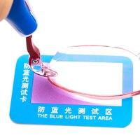 10pc PVC Anti Blau Licht Test Karte Test Licht Gläser UV Test Zubehör Karte Blau Licht Erkennung Karte generator Karte Und Temp-in Optische Filter aus Werkzeug bei