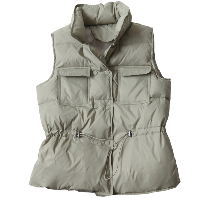 Fitaylor New Duck Down Coat Jacket Women Loose Double Breasted Warm Parkas Female Sleeveless Sash Tie Up Down Outwear 6