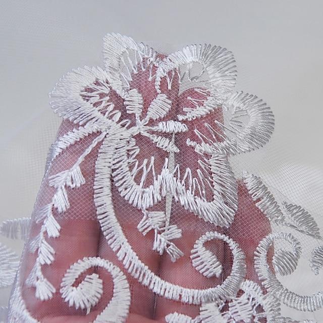 150cm Women Bridal Short Wedding Veil White One Layer Lace Flower Edge Appliques wedding accessories for women bride 6