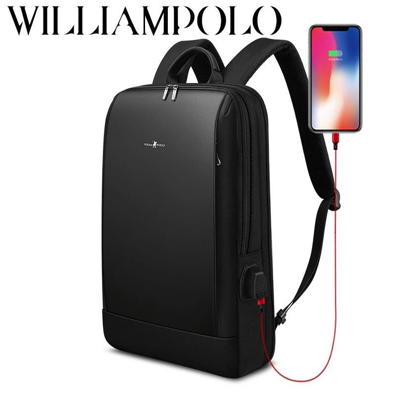 Backpack Men Slim Laptop  15.6 inch Office Work Men Backpack Business Bag Unisex Black Ultralight Backpack Thin Back Pack