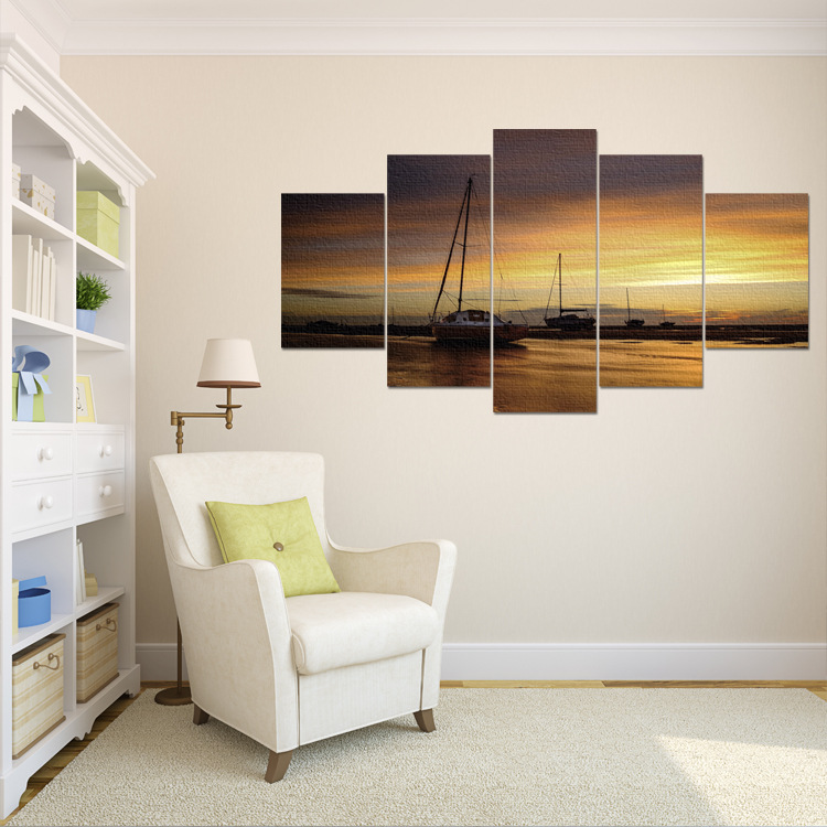 AliExpress Customizable Frameless Painting Cross Border Electricity Supplier Hanging Painting Seaside Scenery 5-frame Combinatio