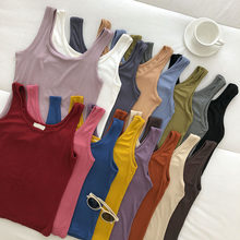 Vest tops 2021 Spring Summer New Women's Slim Fit All-match Sling Solid Inside and Outside Wear Sleeveless Base tank Top Fashion