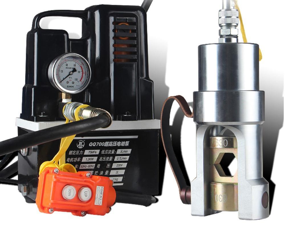 Outil de sertissage de câble split bornes de cuivre hydrauliques machine de pressage avec QQ-700 pompe hydraulique électrique