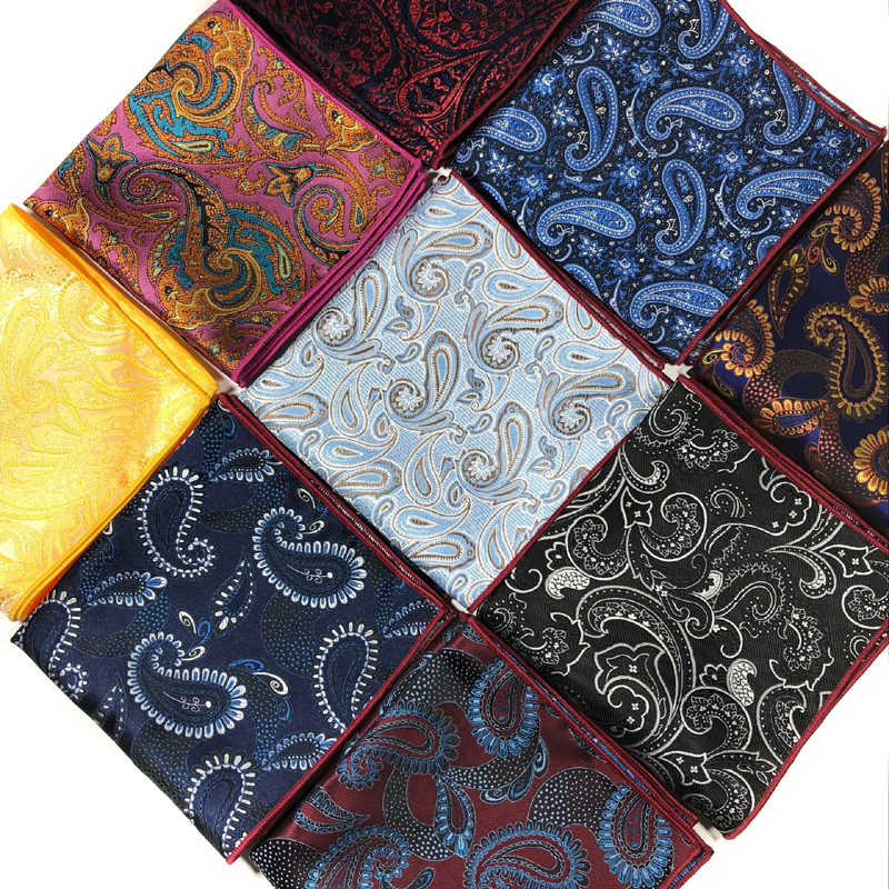 Men's Pocket Square Fashion 25CM Handkerchief Paisley Floral Hanky Men Suit Chest Towel Accessories For Business Wedding Party